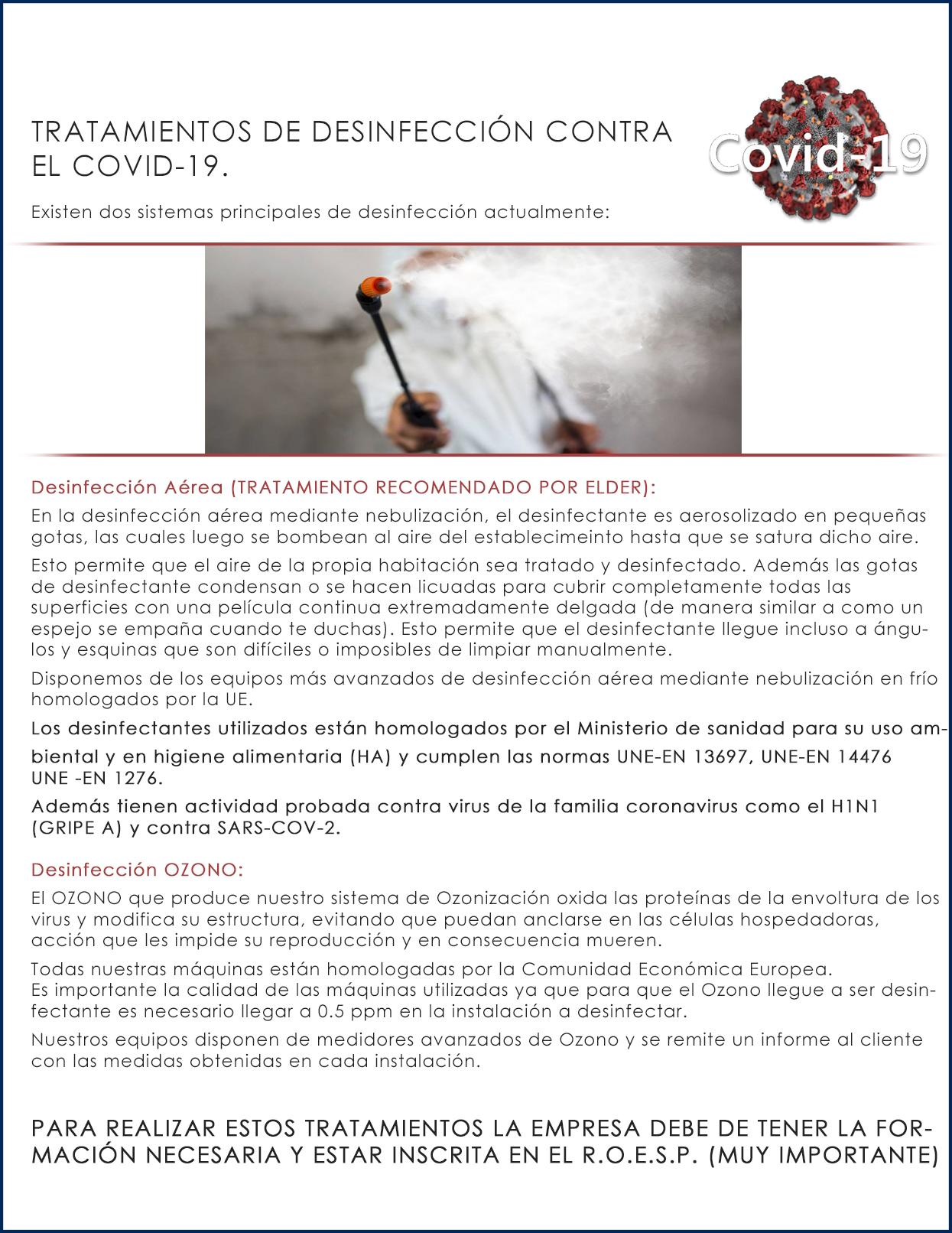 Tratamientos de desinfección contra COVID-19