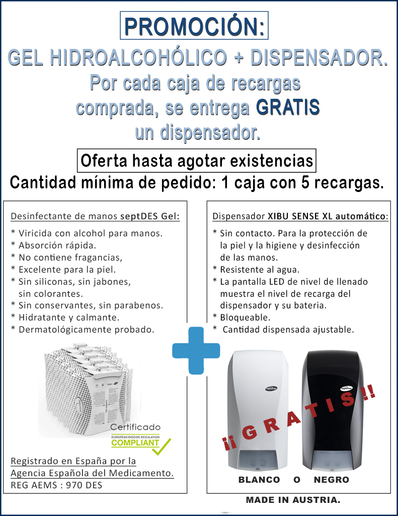 Gel hidroalcohólico y dispensador